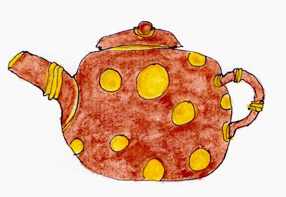 Teapot with yellow spots drawing